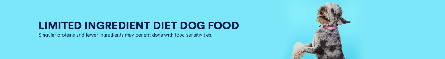 Limited ingredient diet dog food. Singular proteins and fewer ingredients may benefit dogs with food sensitivies.