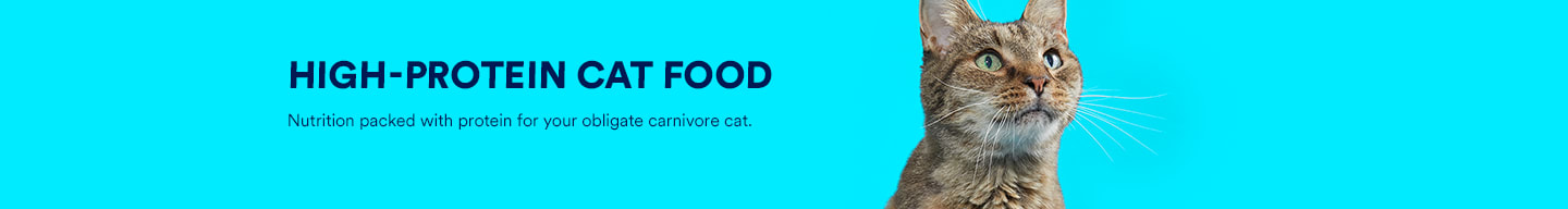 High-protein cat food. Nutrition packed with protein for your obligate carnivore cat.