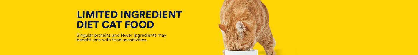 Limited Ingredient diet cat food. Singular proteins and fewer ingredients may benefit cats with food sensitivities.