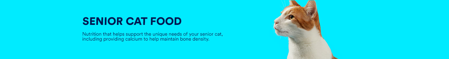 Senior cat food. Nutrition that helps support the unique needs of your senior cat, including providing calcium to help maintain bone density.