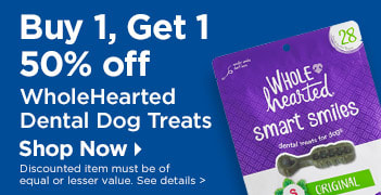 Buy 1, Get 1 50% off WholeHearted Dental Dog Treats - Shop Now