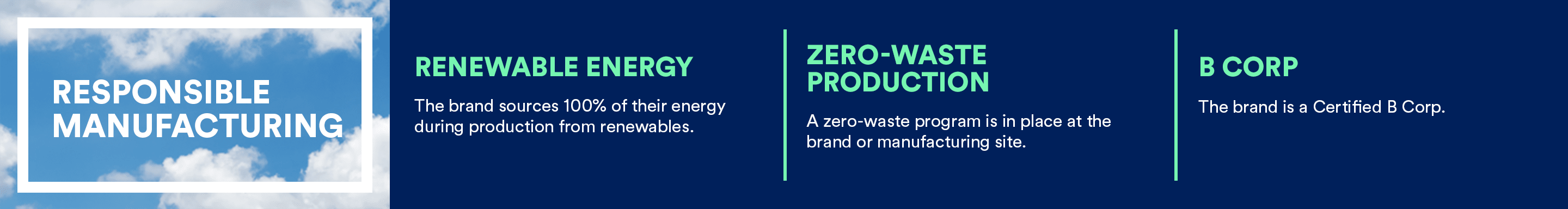 RESPONSIBLE MANUFACTURING; Renewable Energy, Zero-Waste Production, B Corp Certified