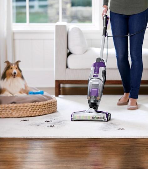 Person vacuuming pet hair off carpet.
