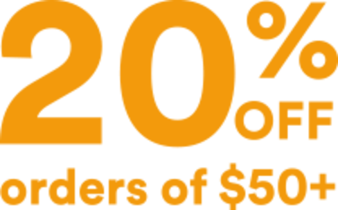 20% off orders $50+