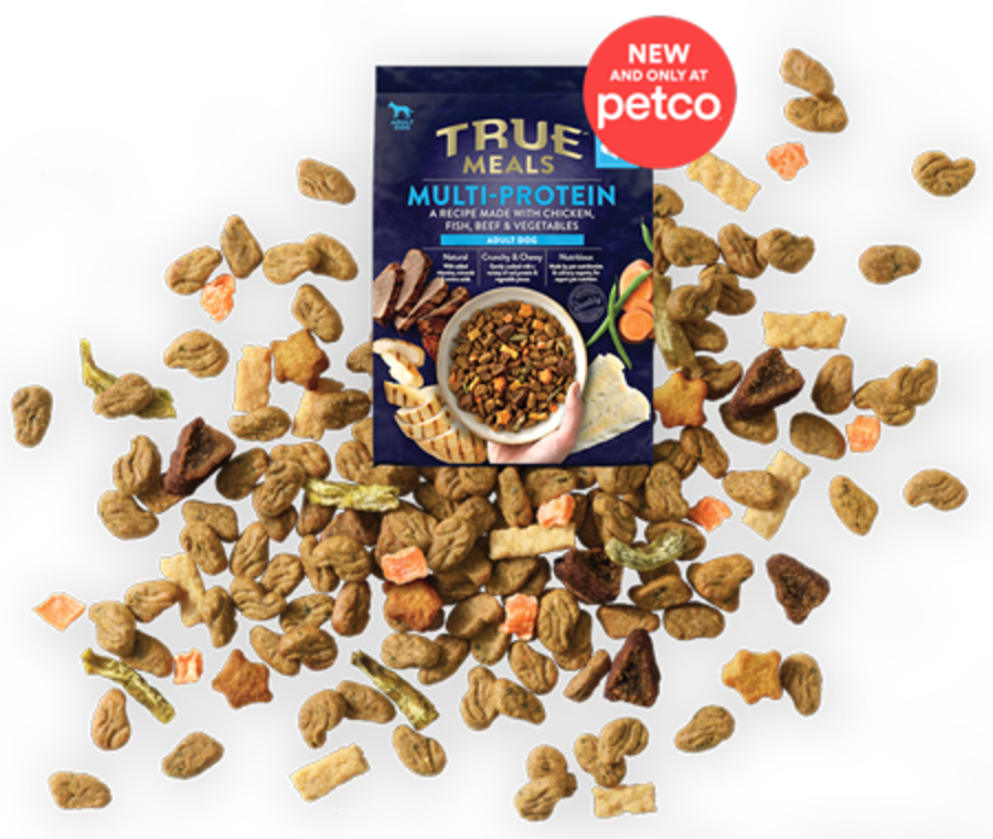 Bag of Tyson True Meals dog food with a badge that reads 'New and only at Petco'.