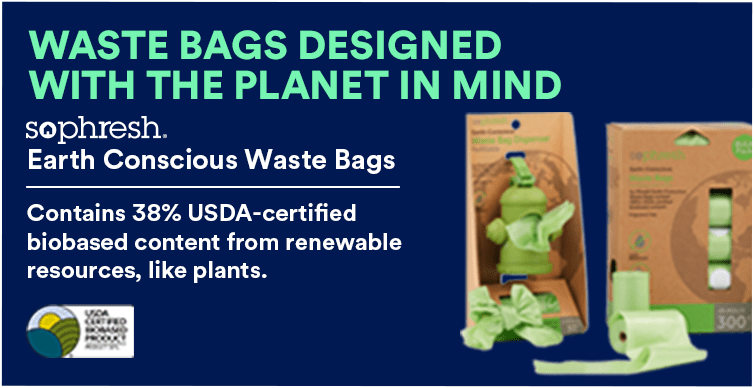 So Phresh Earth Conscious Waste Bags. Contains 38% USDA-certified biobased content from renewable resources, like plants.